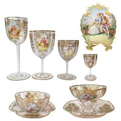 "Huge Moser Enameled and Gilded Stemware Service ""96 Pieces"" circa 1900"