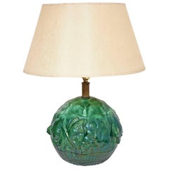 French Art Deco Green Ceramic Fish Lamp