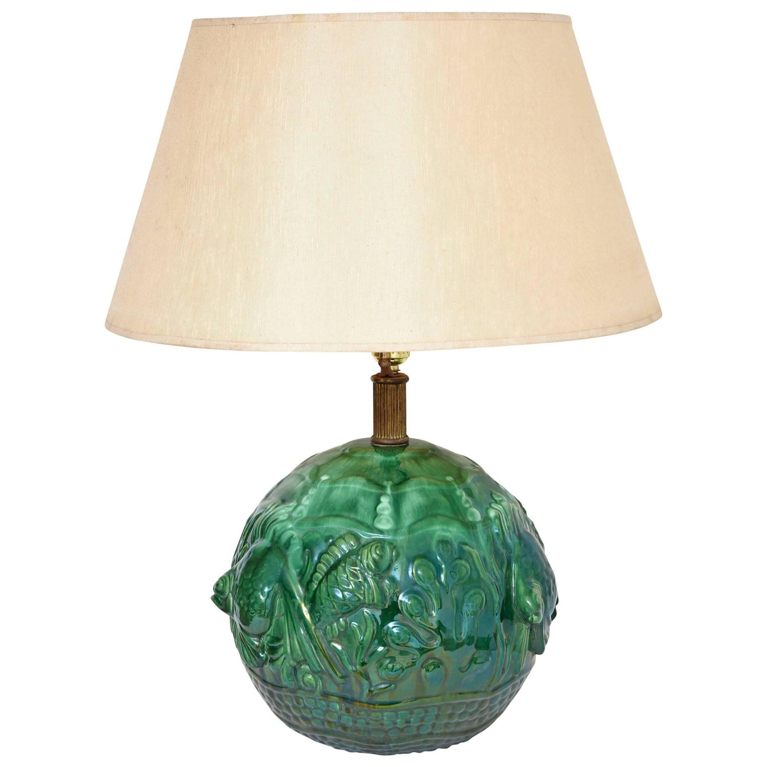 Green Lamp Painting : French art deco green ceramic fish lamp for sale at stdibs