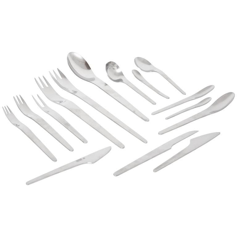 Arne Jacobsen by Anton Michelsen Space Age Modernist Stainless Flatware Set
