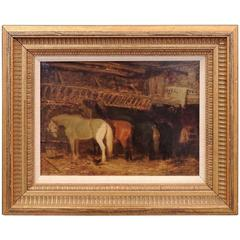 Late 19th Century English Oil on Canvas Painting of a Stable Scene