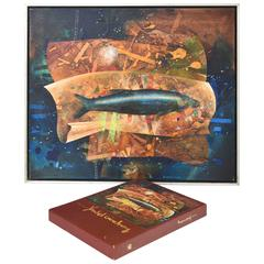 Yankel Ginzburg Oil Painting of Fish Featured on Book Binder