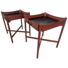 Pair of Mid-Century Collapsible Teak Tray Tables