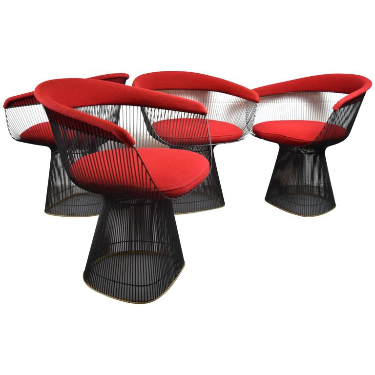Set Of Four Vintage Warren Platner For Knoll Dining Chairs