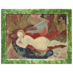 Mid-20th Century Female Nude Oil Painting by Felice H. Caplane, American