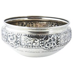 Ornate Nordic Arts & Crafts Bowl by Oslo Silversmith Thune