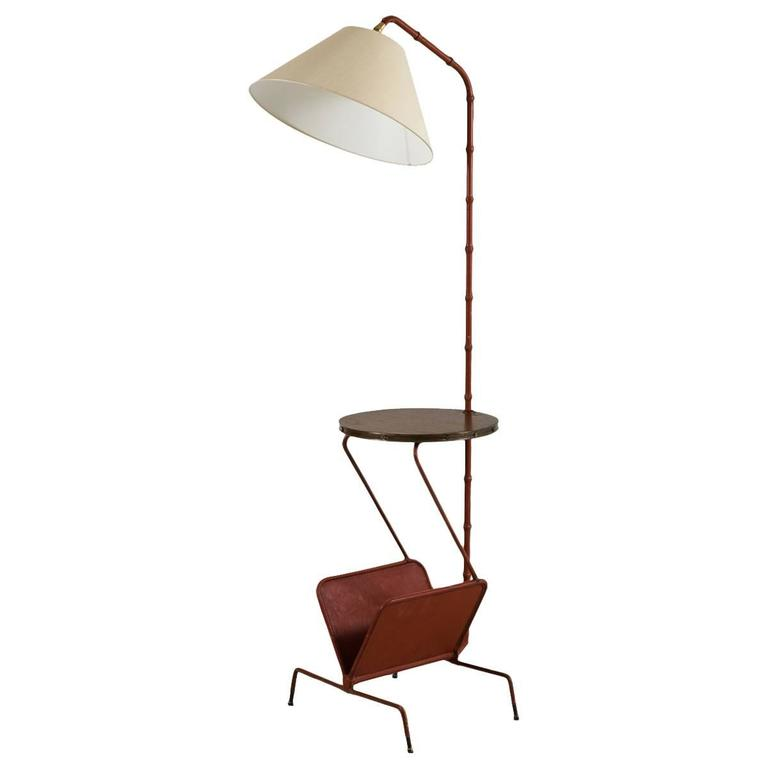 Jacques Adnet Floor Lamp with Table and Magazine Rack 1