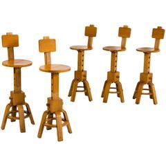 French Wood Barstools