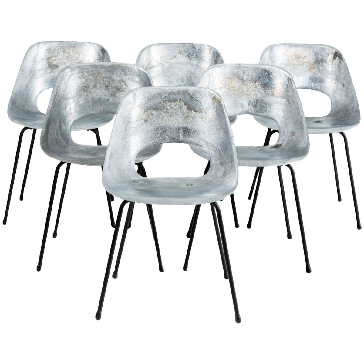 """""""Tonneau"""" Cast Aluminum Chairs by Pierre Guariche"""