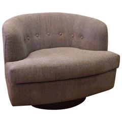 Plush Low Profile Barrel Shape Swivel Club Chair