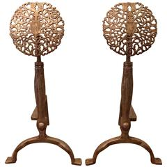 Pair of Arts & Crafts Andirons in the Style of Ernest Gimson