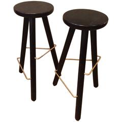 Modernist Ebonized Ash Bar Stools with Brass Footrests