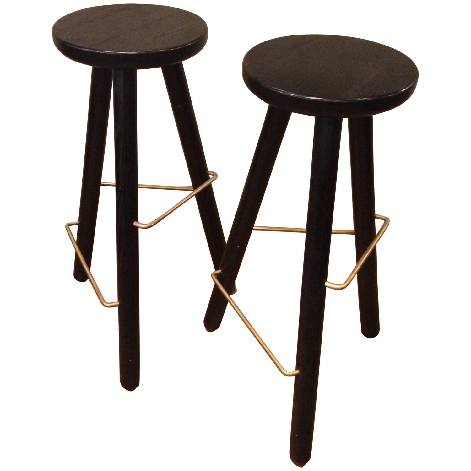 Very Impressive portraiture of  Ebonized Ash Bar Stools with Brass Footrests For Sale at 1stdibs with #8E653D color and 1500x1500 pixels