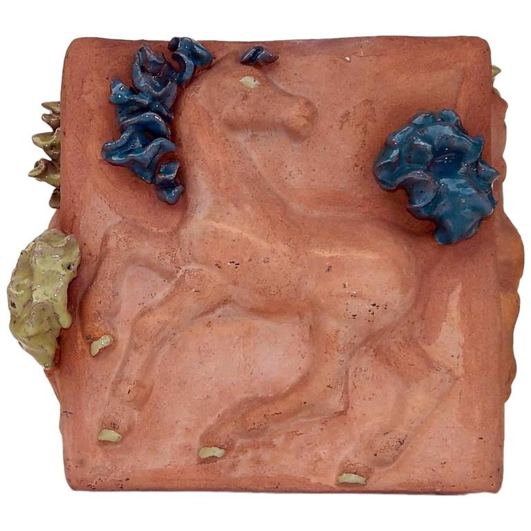 Mathilde Schaefer Modern Studio Pot with Horse Motif For Sale