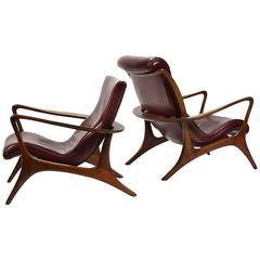 Vladimir Kagan Contour Lounge Chairs and Ottoman
