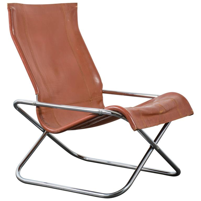 Vintage Mid Century X Folding Chair by Uchida at 1stdibs