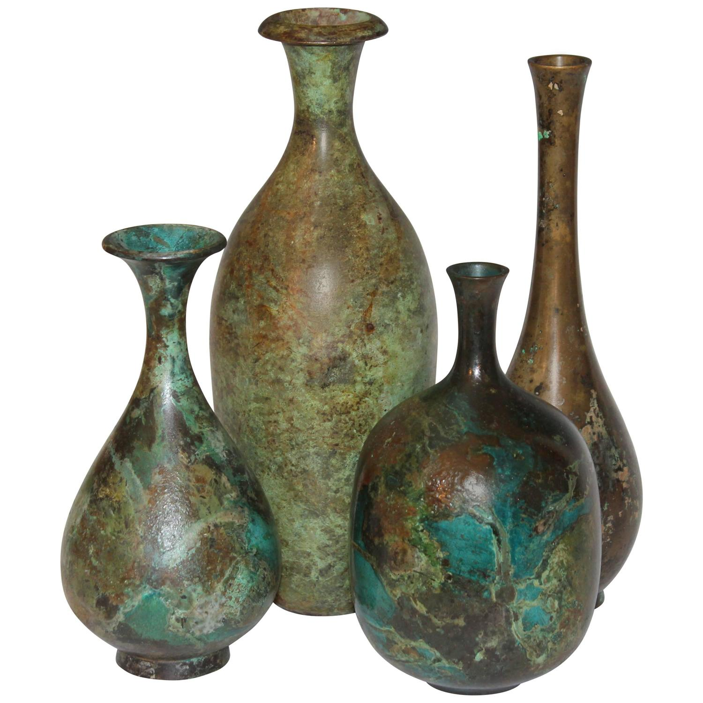 Collection Vintage Japanese Patinated Bronze Bottle Vases