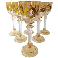 Antique Moser Glass Two-Color Raised Paste Gilt Wines Stems, circa 1900