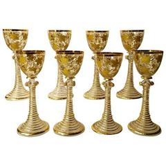 Antique Moser Glass Wine Stems Heavy Raised Gold Vintage Pattern, circa 1900