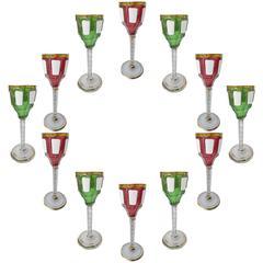 12 Very Rare Moser Glass Cordials Enameled and Gilt, circa 1900