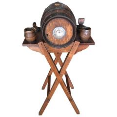 Cigar and Tobacco Stand Black Forest Oak, 19th Century with Clock
