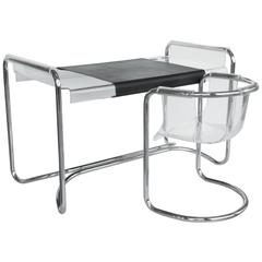 Fabio Lenci Lucite and Chrome Desk with Two Chairs