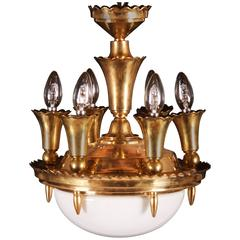 Art Deco Brass Chandelier