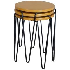 Nest of Three Florence Knoll Wrought Iron Base Stools