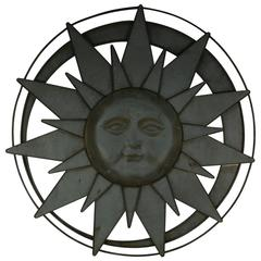 Oversized French Sun and Moon Wall Sculpture