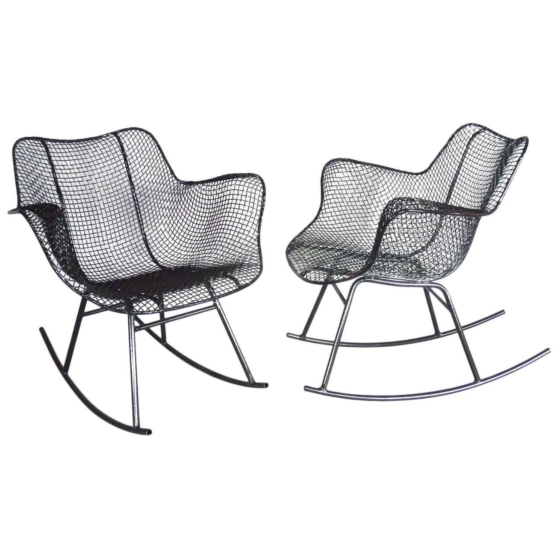 Pair Of Woodard Wrought Iron Rocking Chairs At 1stdibs