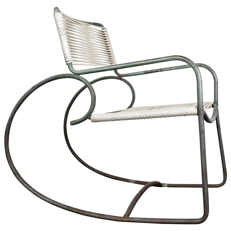 Walter Lamb Bronze Rocking Chair, Model C-5701 For Sale