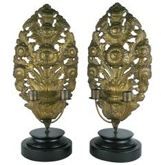 Pair of Antique Mantel Candleholders