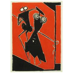 Ugo Sissa Red and Black Gouache on Card
