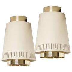 "Paavo Tynell Pair of 12"" Ceiling Lamps, Model 9067, 1950"