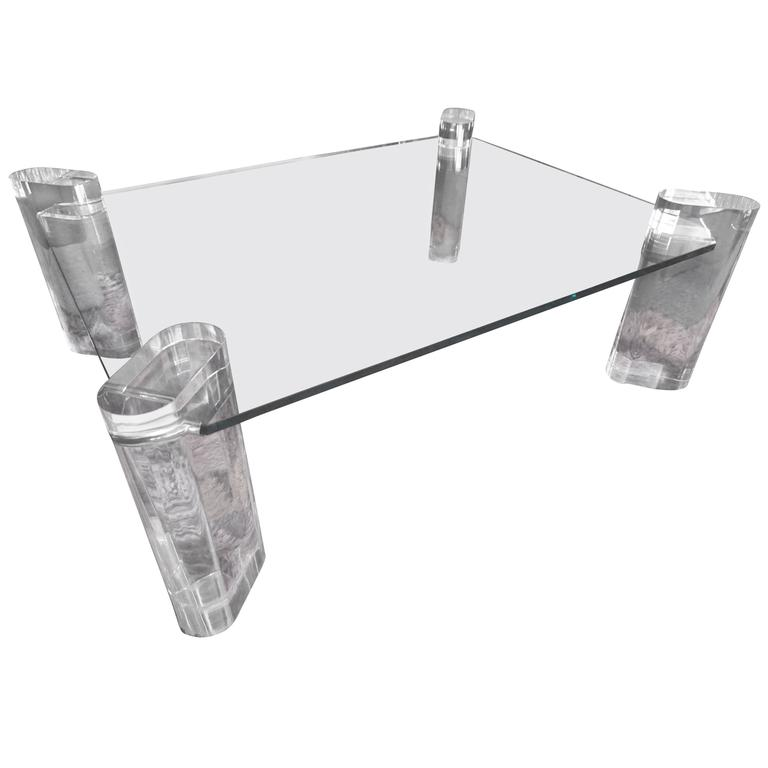 Magnificent Karl Springer Chunky Lucite Coffee Table, circa 1970s