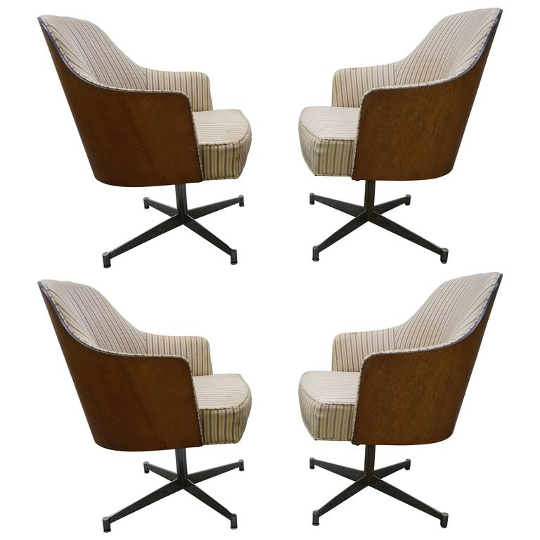 Merveilleux Four Milo Baughman Style Teak Back Swivel Dining Chairs, Mid Century Modern  For Sale