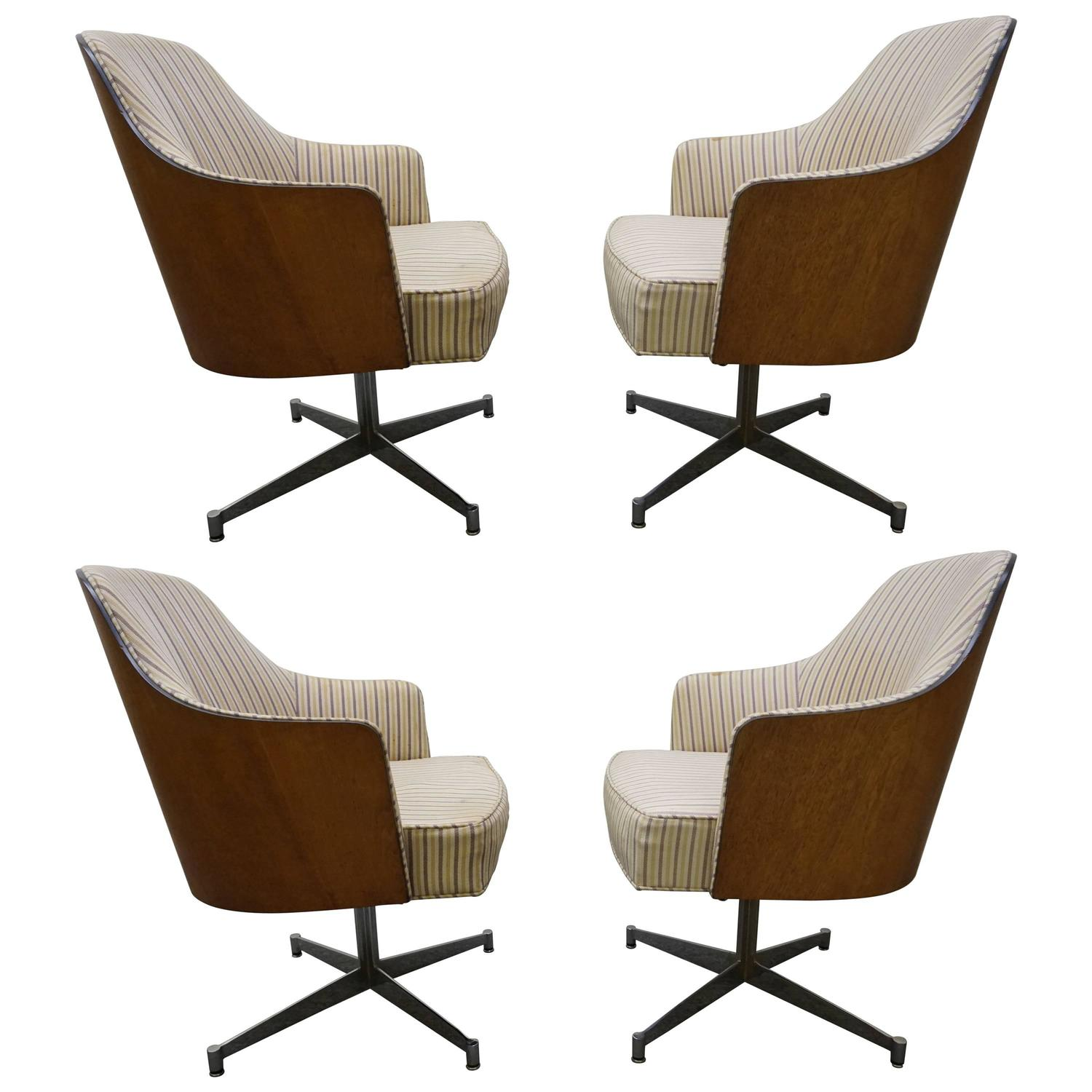 Four milo baughman style teak back swivel dining chairs for Dining room sets 4 chairs