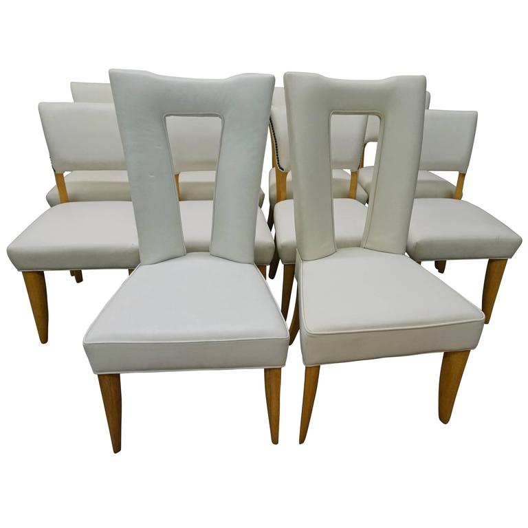 Amazing Set Ten Paul Laszlo Leather Dining Chairs Mid-Century Modern