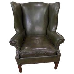Green Leather Chippendale Style Wing Chair and Ottoman