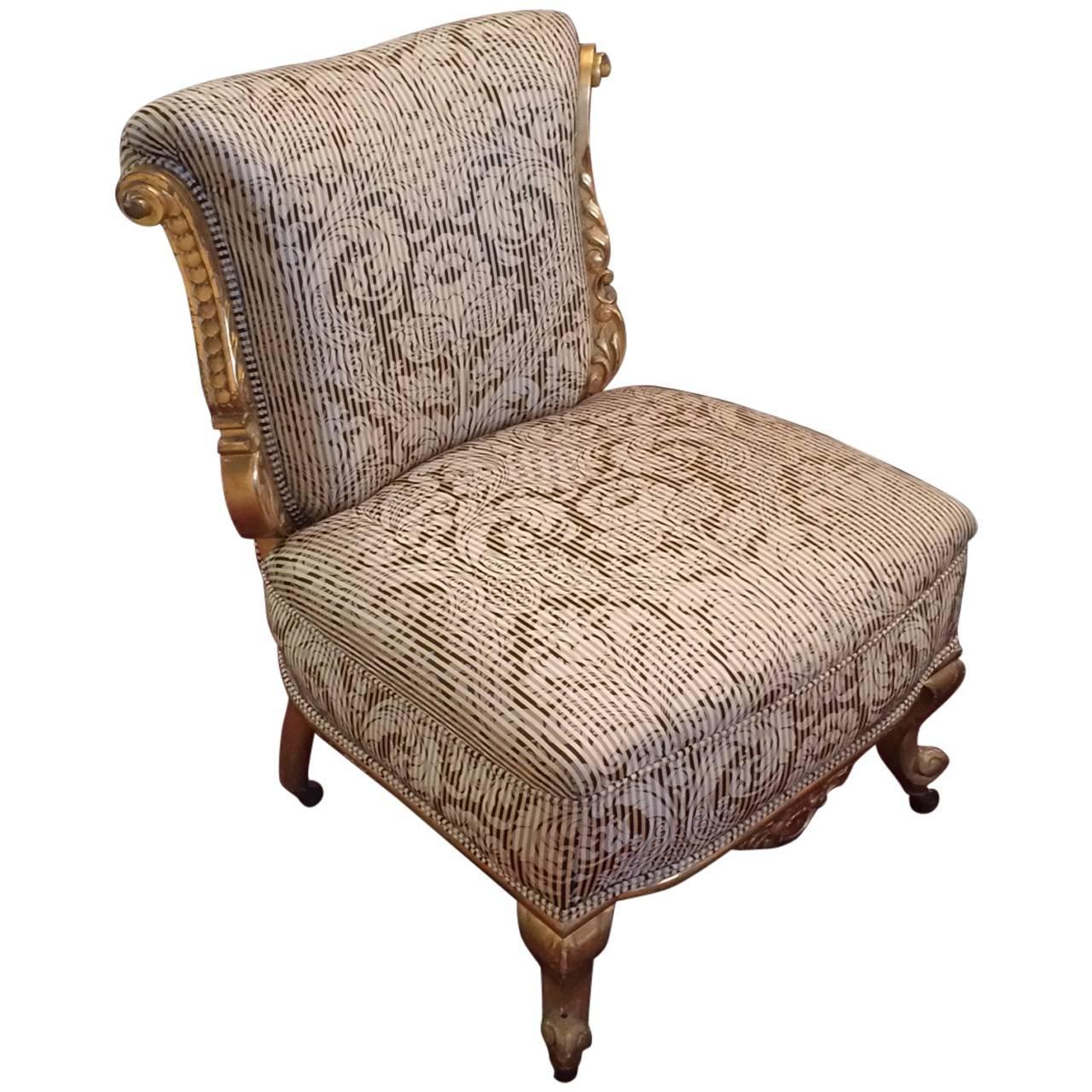 Pretty Antique Giltwood And Upholstered Slipper Chair At