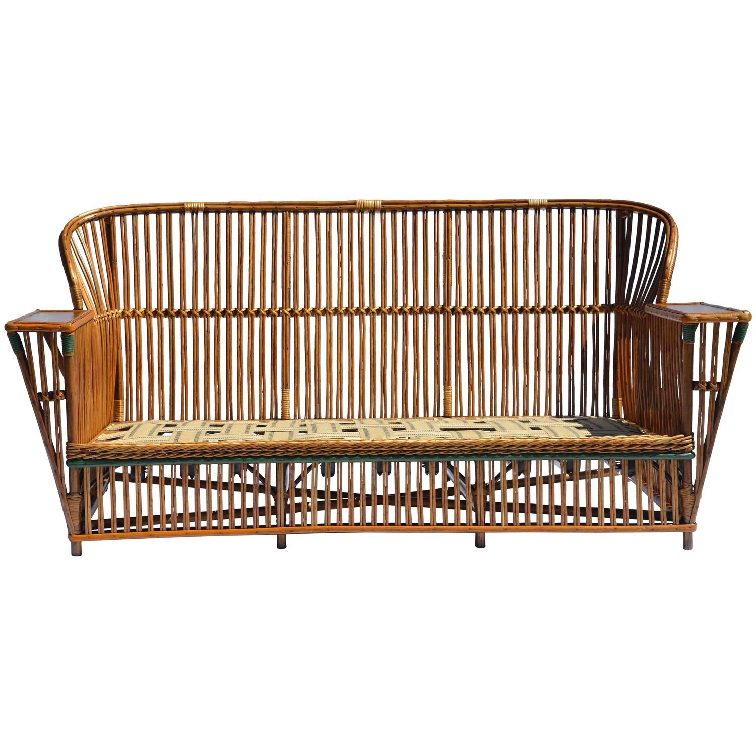 antique stick wicker sofa at 1stdibs. Black Bedroom Furniture Sets. Home Design Ideas