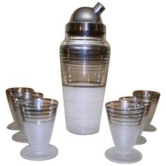 Art Deco Cocktail Shaker and Matching Glasses