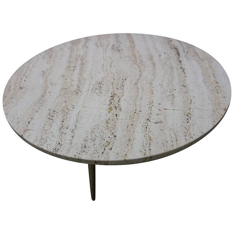 Lovely Mid Century Modern Round Travertine Top Coffee Table At 1stdibs