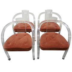Set of Four Charles Hollis Jones Style Lucite Rolling Chairs