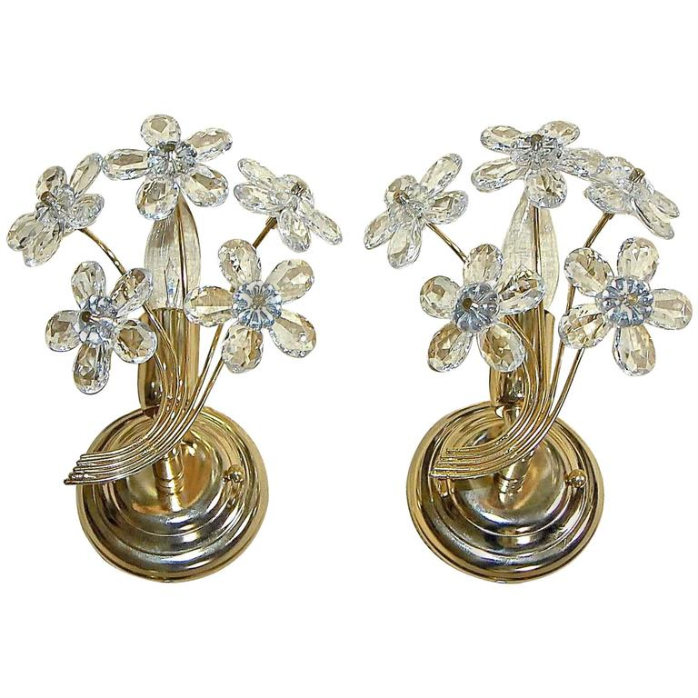 Italian Crystal Wall Sconces : Pair of Italian Floral Crystal Wall Sconces For Sale at 1stdibs
