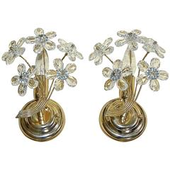 Pair of Italian Floral Crystal Wall Sconces