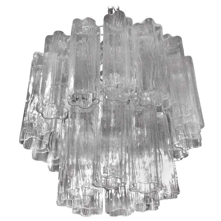 Murano Two-Tier Tronchi Glass Vintage Chandelier, Italy, Hollywood Regency
