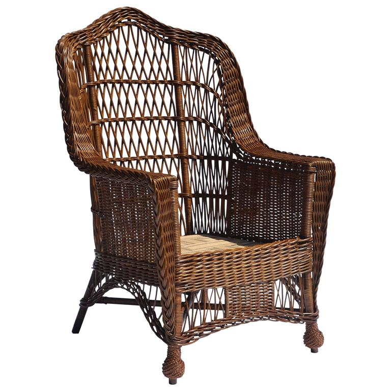 Great Antique Heywood Wakefield Wicker Armchair For Sale