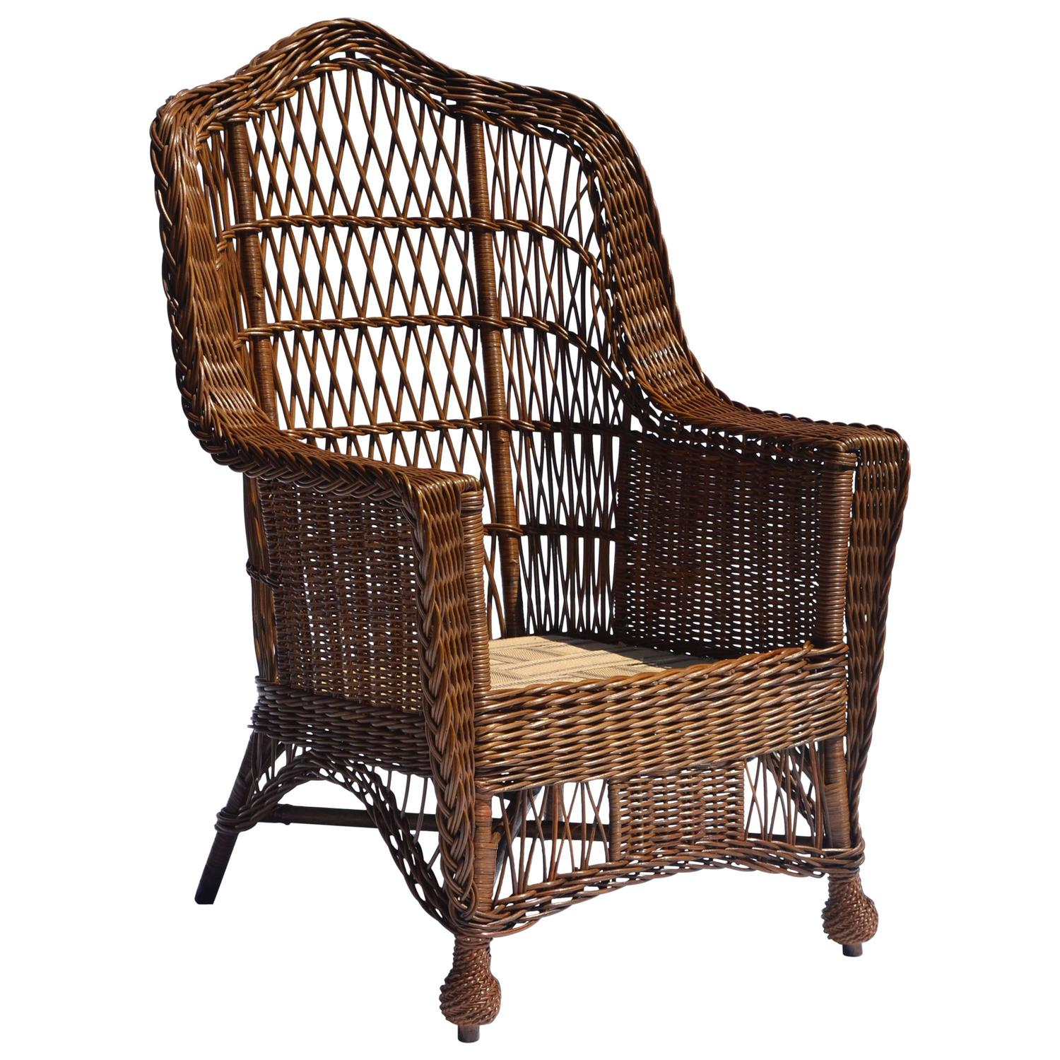 antique heywood wakefield wicker armchair for sale at 1stdibs