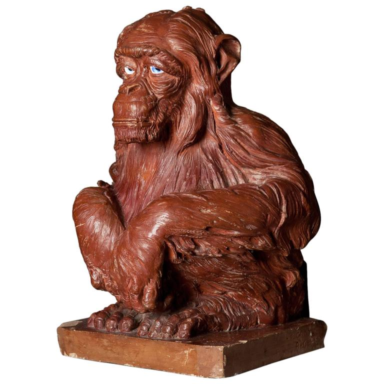 19th Century Terracotta Sculpture of a Monkey For Sale